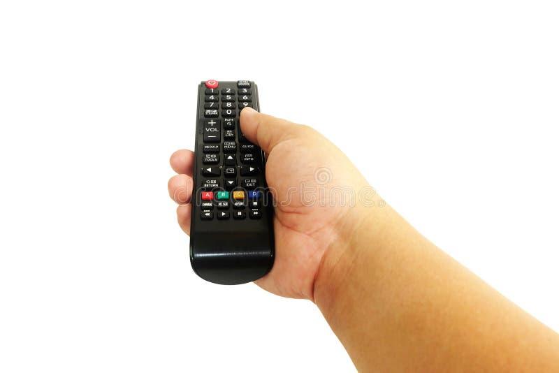 手按在白色隔绝的遥控电视 免版税图库摄影