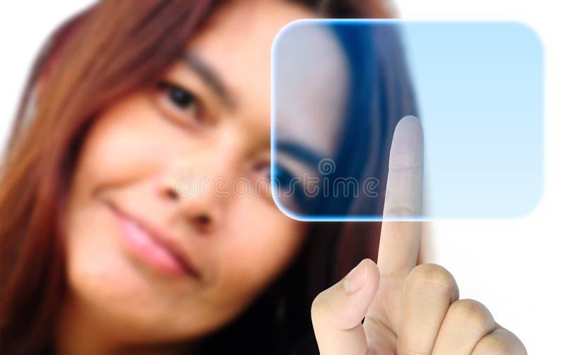 手按妇女的按钮 图库摄影