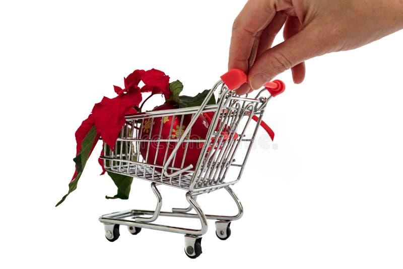 手按有圣诞节花、一品红和一个装饰球的小购物车 免版税库存图片