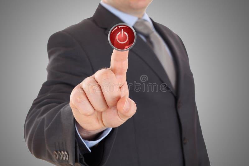 手按红色停止键 库存照片