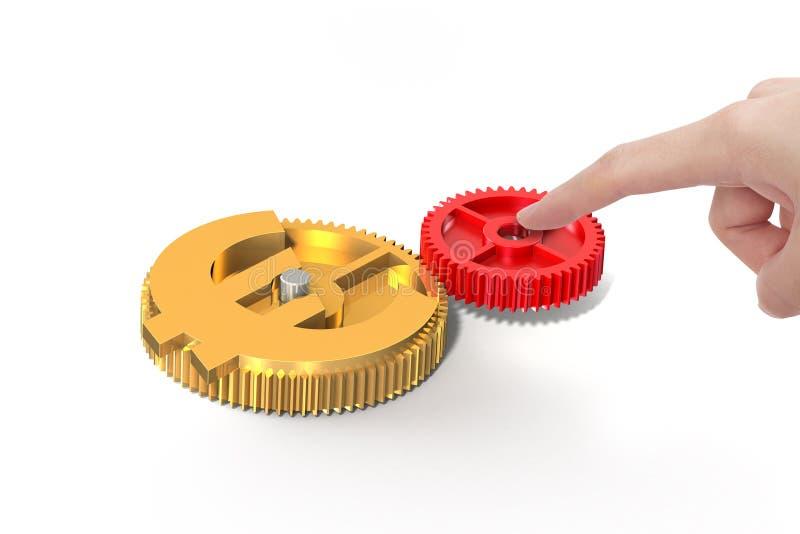 手按齿轮与货币符号结合适应 免版税库存照片