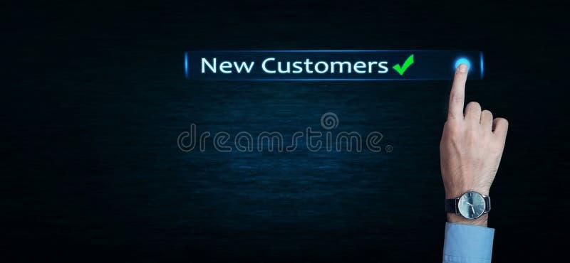 手接触新的顾客词 免版税库存照片