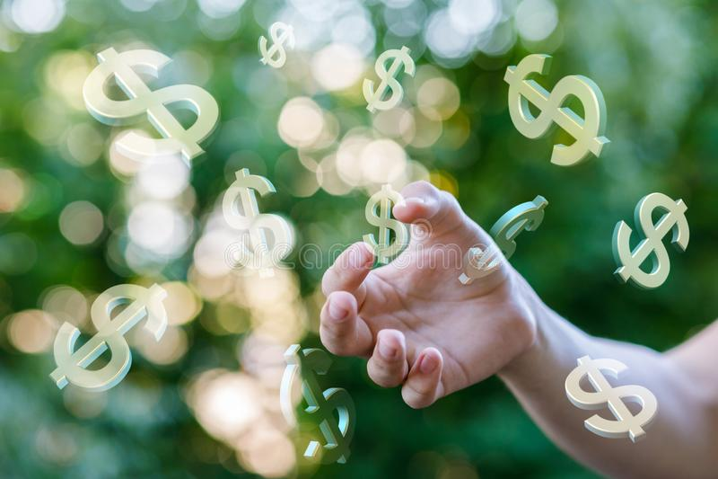 手接触美元的符号 图库摄影