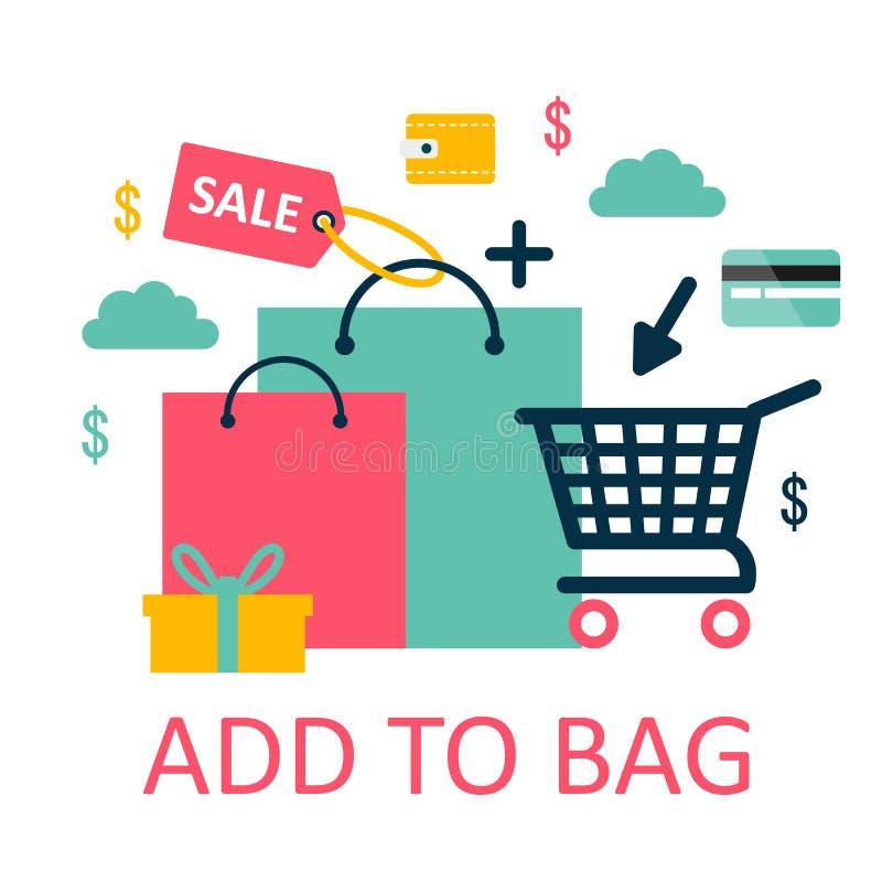 手推车传染媒介商店手推车台车顾客或卡特与空的篮子和袋子购买在商店例证 库存例证