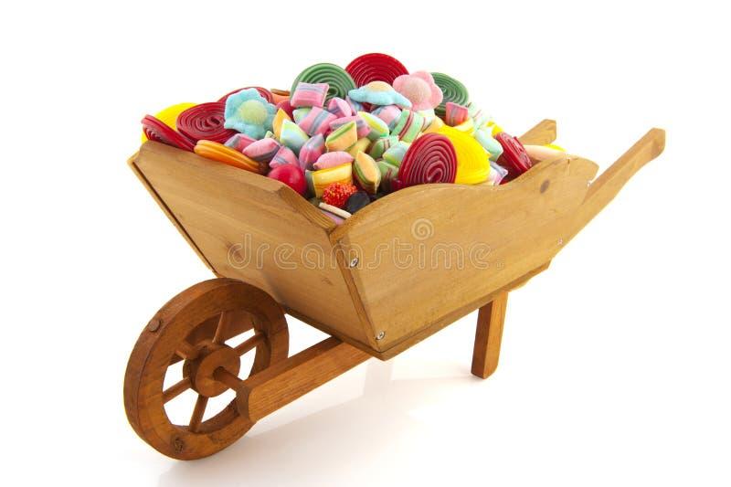 手推车糖果充分的轮子 库存照片