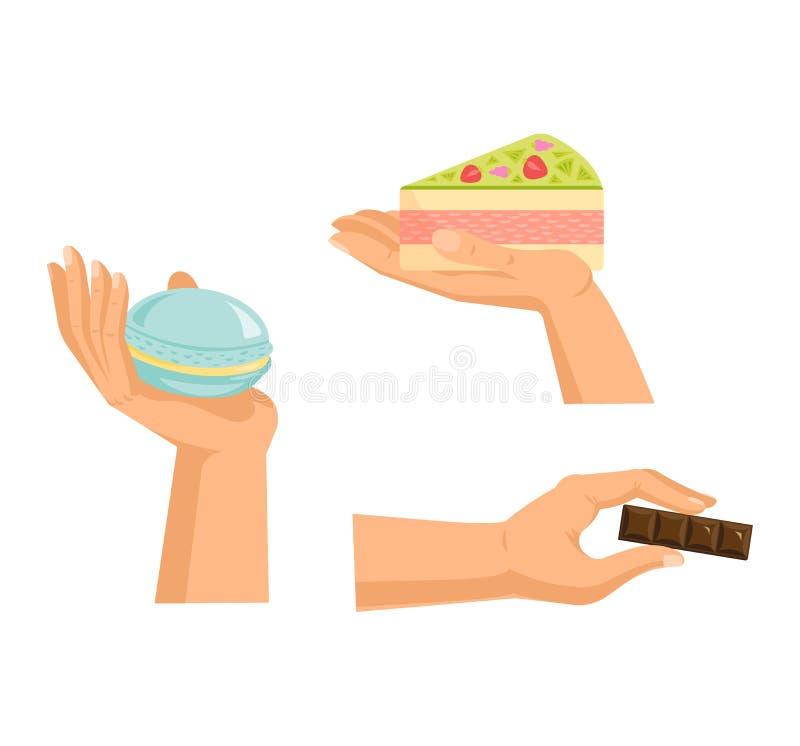 手提供与蛋糕传染媒介武器储备巧克力糖果店甜混合药剂诱惑,没有饮食的甜 ?? 向量例证