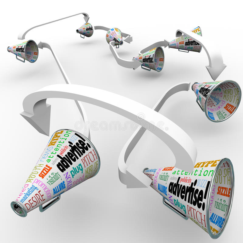给手提式扬声机扩音机被连接的传播的营销混乱做广告 向量例证