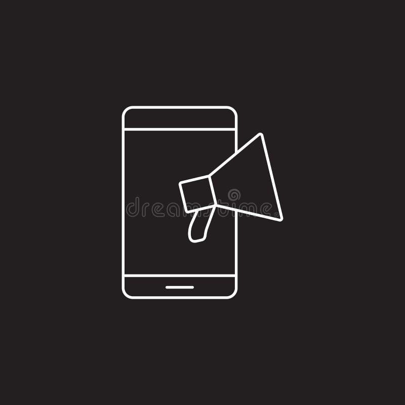 手提式扬声机线象,网公告概述传染媒介商标illustra 库存例证