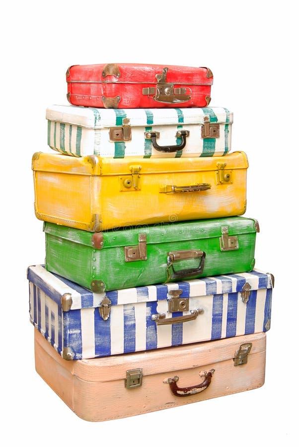 手提箱堆。 库存图片