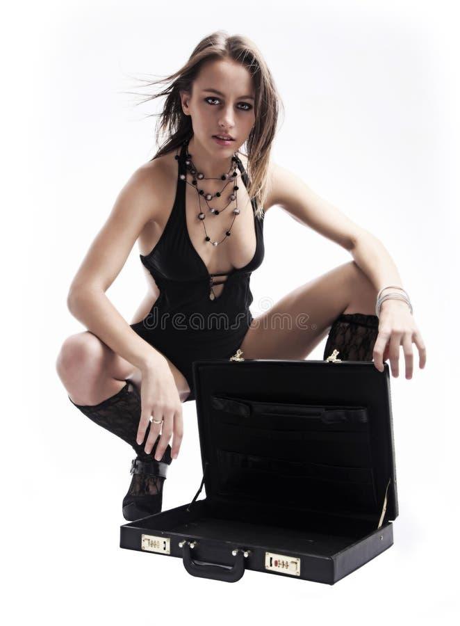 手提箱妇女 免版税库存图片
