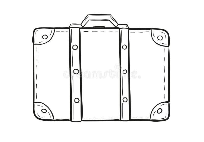 手提箱的剪影 向量例证