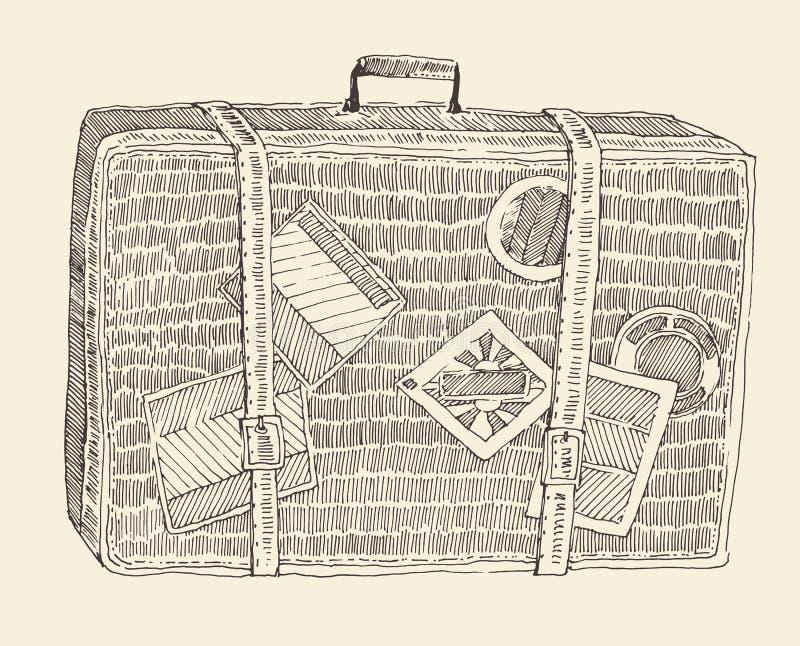 手提箱行李被刻记的减速火箭的手拉的剪影 向量例证