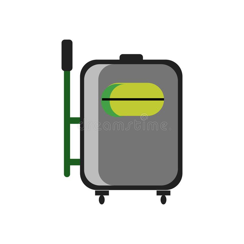 手提箱象在白色背景和标志隔绝的传染媒介标志,手提箱商标概念 皇族释放例证