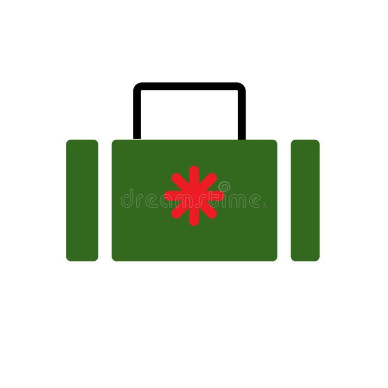 手提箱象在白色背景和标志隔绝的传染媒介标志,手提箱商标概念 库存例证