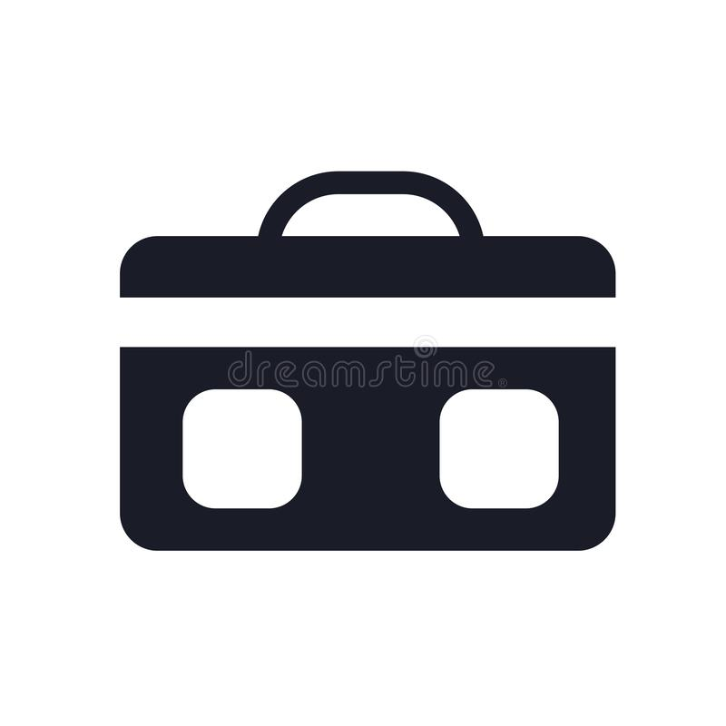 手提箱象在白色背景和标志隔绝的传染媒介标志,手提箱商标概念 向量例证