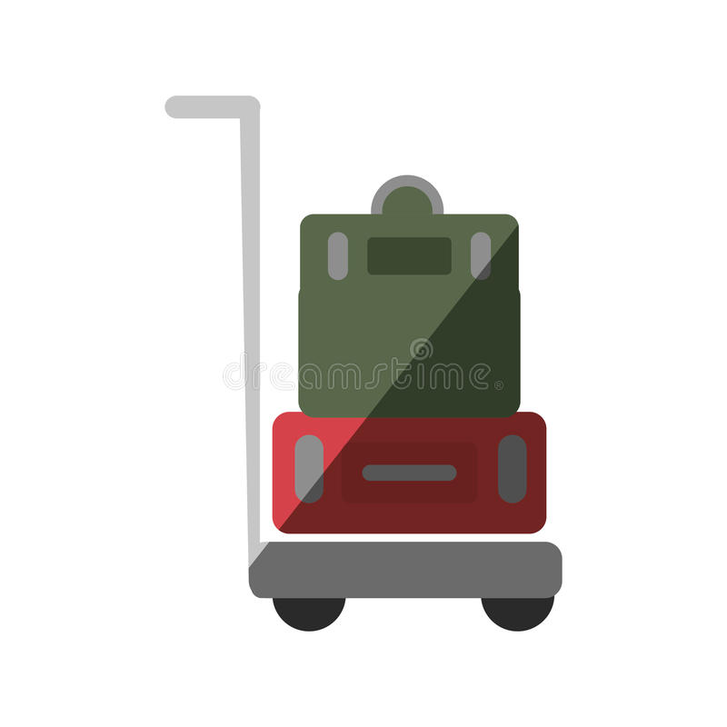 手提箱运输推车被隔绝的象 库存例证