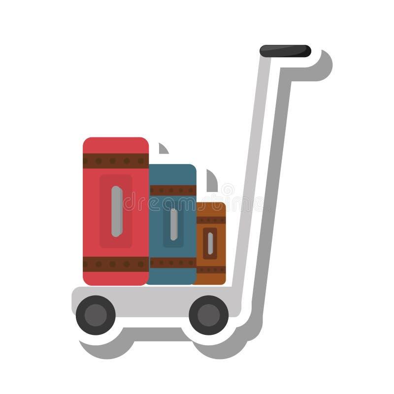 手提箱运输推车被隔绝的象 皇族释放例证