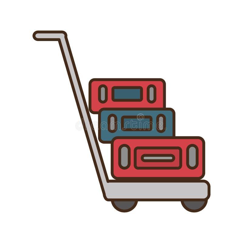 手提箱运输推车被隔绝的象 向量例证