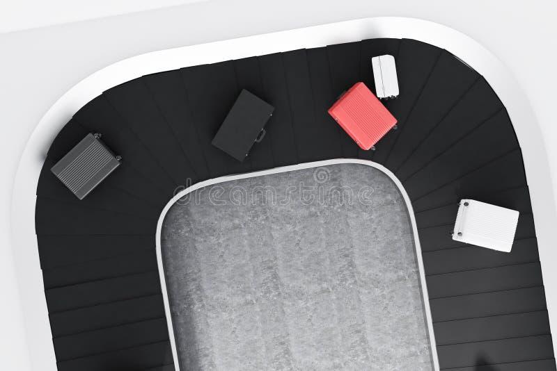 手提箱顶视图在机场传送带的 向量例证