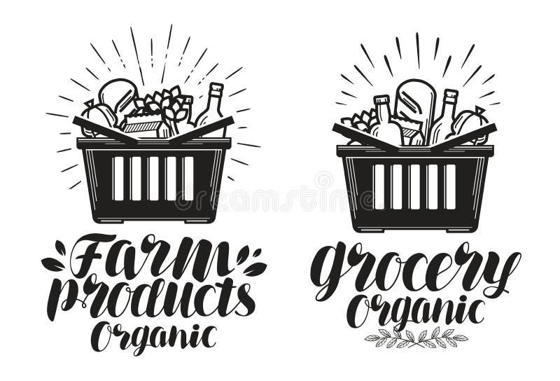 手提篮用新鲜食品 杂货或农产品,标签 手写的字法,书法传染媒介例证 向量例证