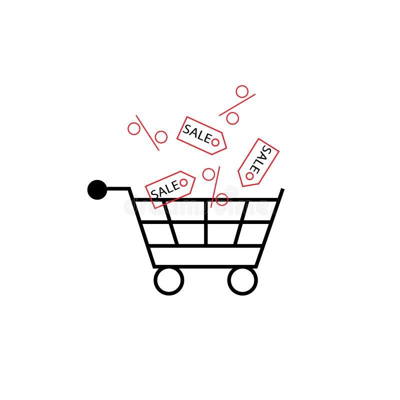 手提篮的例证充分与销售标记和百分之 向量例证
