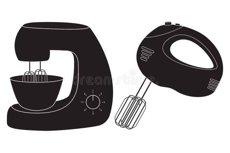 手搅拌器和立场搅拌器象 库存例证
