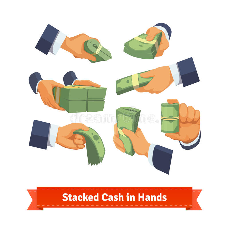 手摆在给,采取或者显示现金堆 向量例证