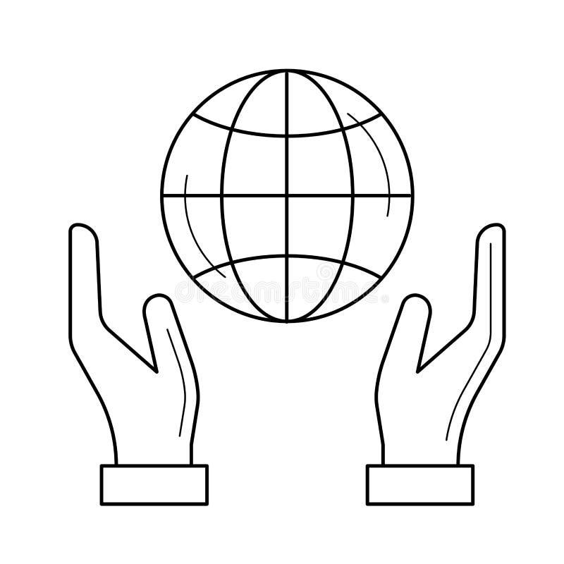 手支持地球地球传染媒介线象 向量例证. 插画 包括有图片