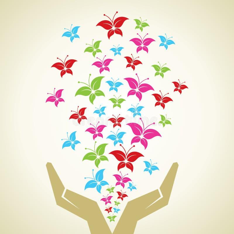 手散发了五颜六色的蝴蝶背景 皇族释放例证