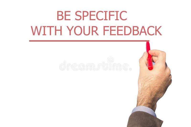 手文字是具体的与您的反馈 免版税库存照片