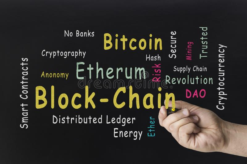 手文字词云彩 Cryptocurrency,财务,网上事务,反对黑板的blockchain概念 免版税图库摄影