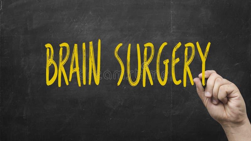 手文字黑黑板的脑部手术 免版税库存图片