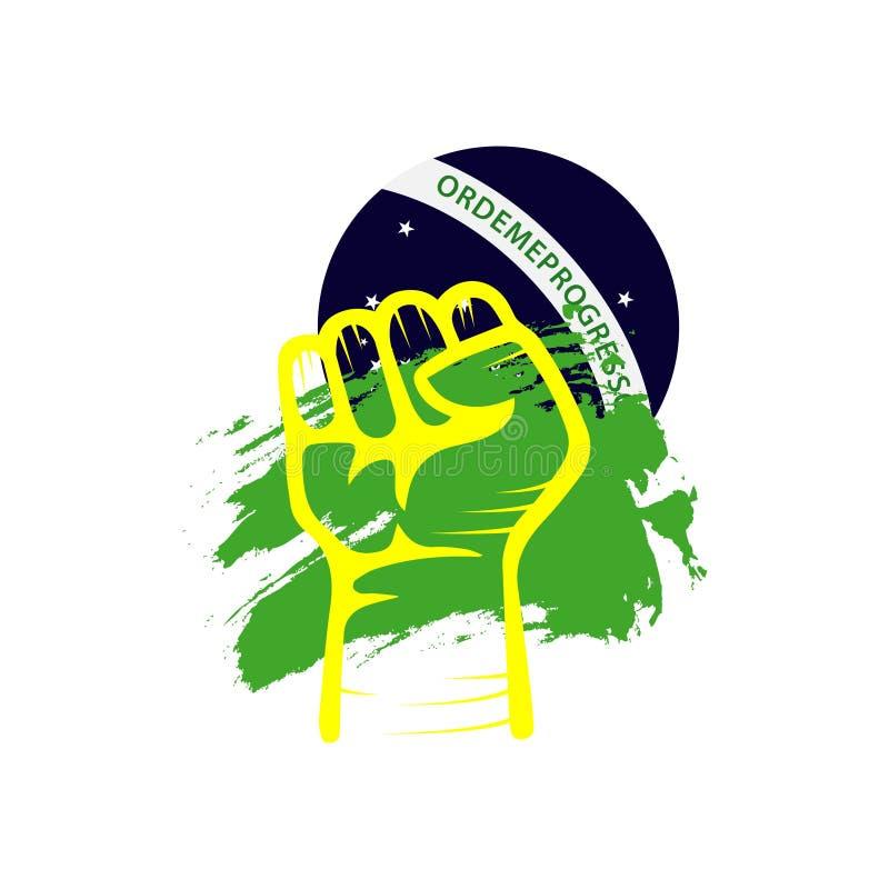 手旗子巴西传染媒介模板设计例证 向量例证