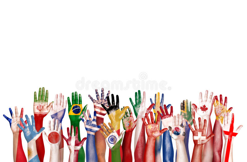 手旗子标志不同的变化种族种族团结Conce