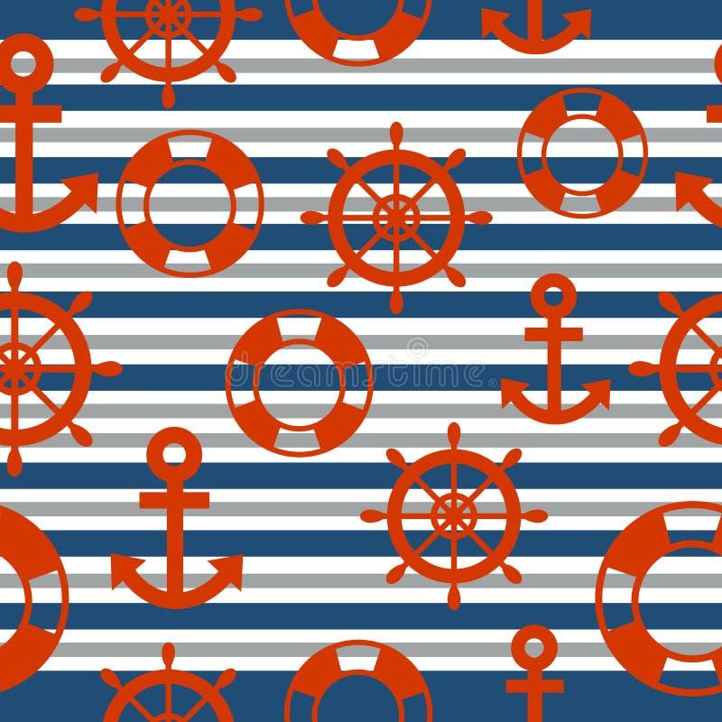 水手无缝的样式有背景 向量例证