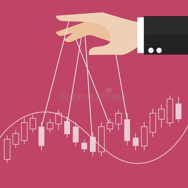 手是控制股票蜡烛棍子图表 库存例证
