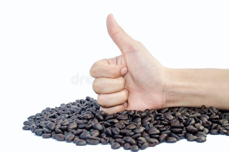 手显示赞许和咖啡豆 免版税库存照片
