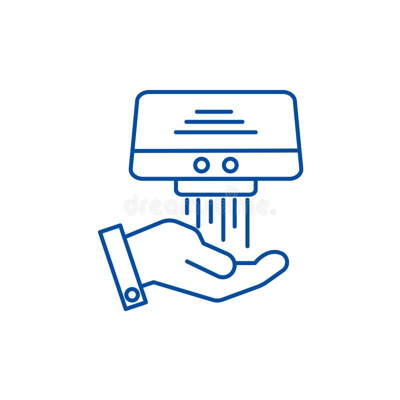 手更加干燥的线象概念 手烘干机平的传染媒介标志,标志,概述例证 库存例证