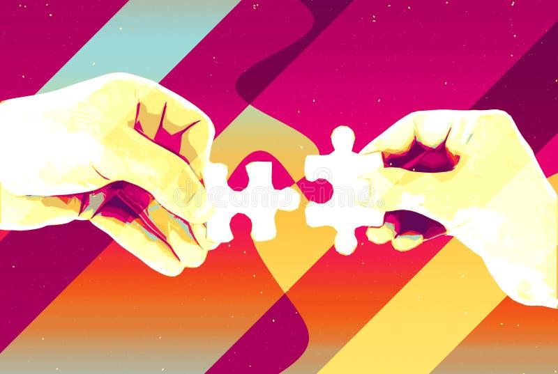 手有两个难题片断抽象背景、现代例证配合的,合作、关系、连接和c 库存例证