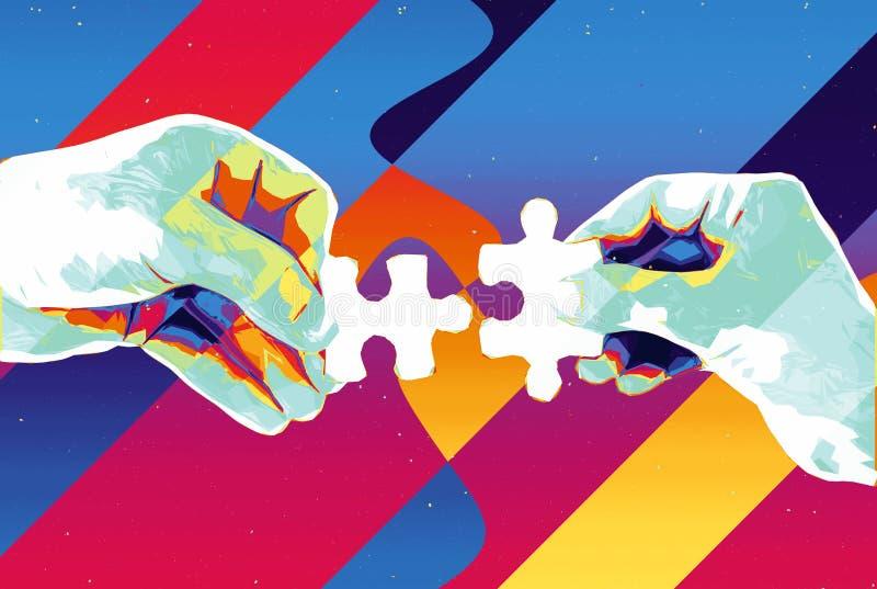 手有两个难题片断抽象背景、现代例证配合的,合作、关系、连接和c 皇族释放例证