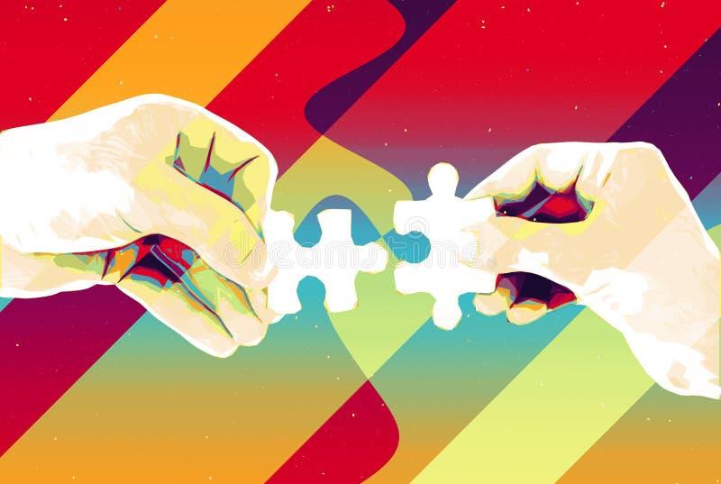 手有两个难题片断抽象背景、现代例证配合的,合作、关系、连接和c 向量例证