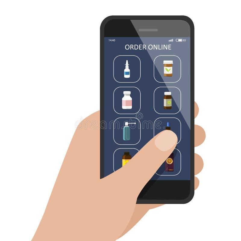 手有药房/药房网络购物应用程序的藏品智能手机 医学瓶,维生素,下落,在显示的浪花 Vecto 向量例证
