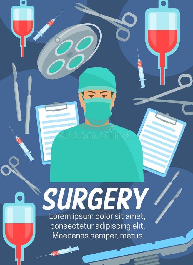 手术医疗服务和医生 向量例证