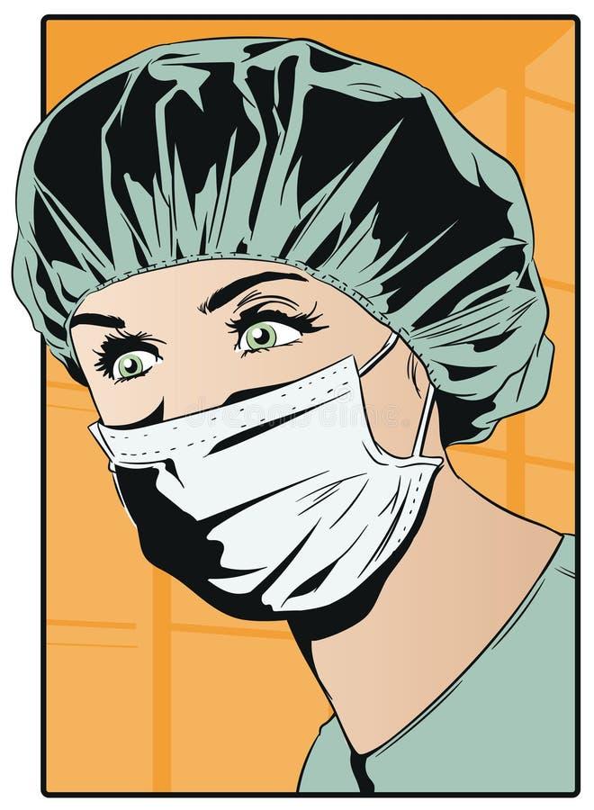 手术口罩的妇女医生 皇族释放例证