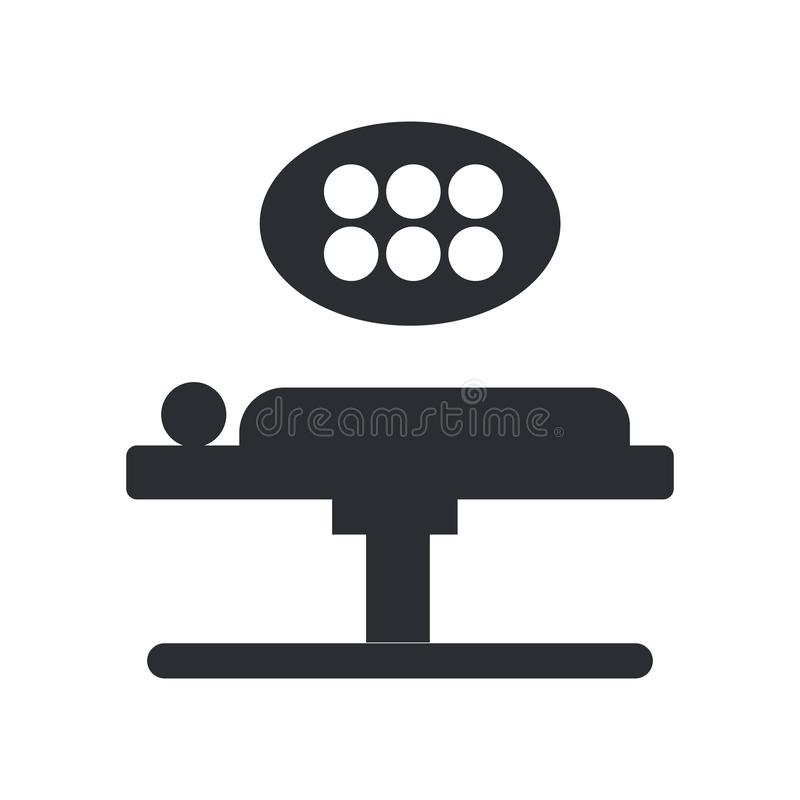 手术台象在白色背景和标志隔绝的传染媒介标志,手术台商标概念 库存例证