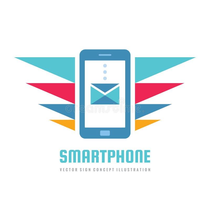 手机传染媒介企业商标概念例证 智能手机创造性的标志 现代电子技术 手机标志 皇族释放例证