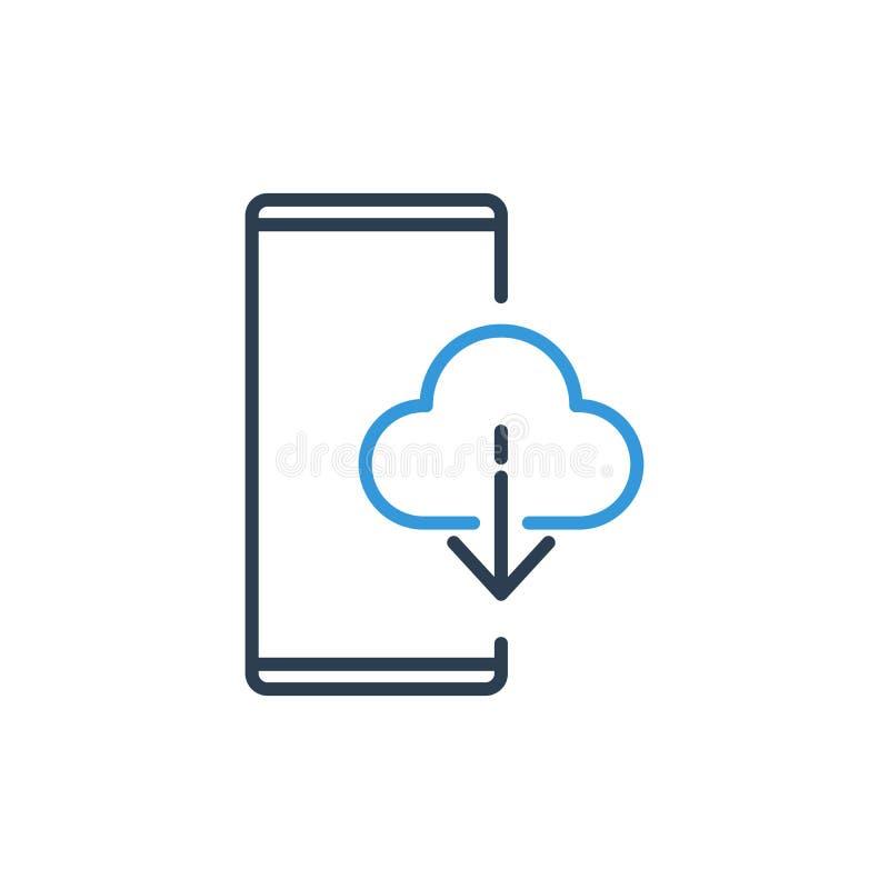 手机传染媒介象-云彩下载信息简单的线  向量例证