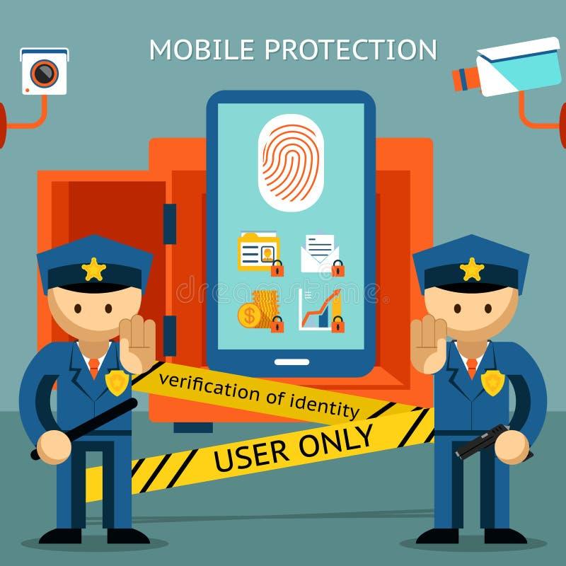 手机保护 金融证券和 向量例证