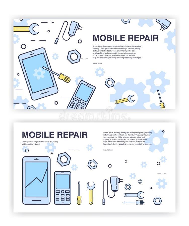 手机修理 与智能手机和工具的横幅 为电子技术服务 库存例证