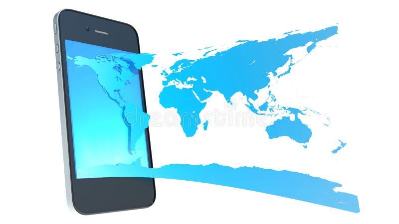 手机和世界地图 皇族释放例证